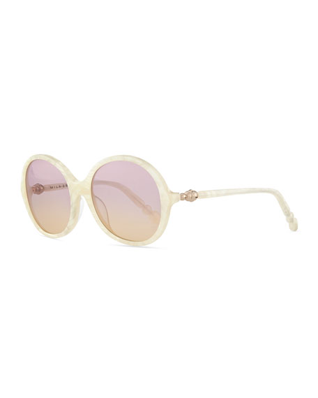 Round Sunglasses, Pearly White