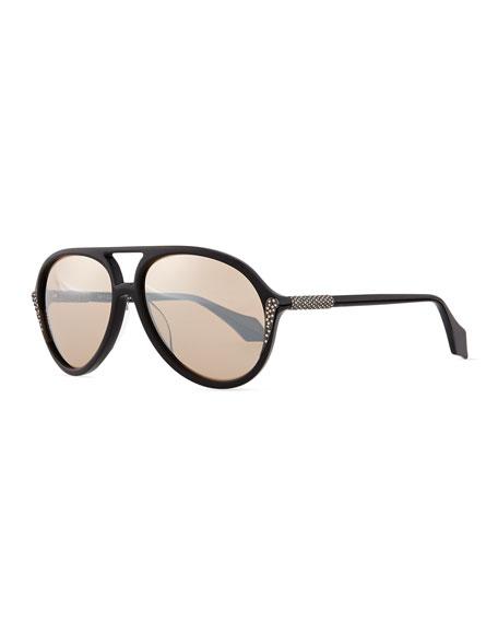Mila ZB Aviator Sunglasses with Crystals, Black