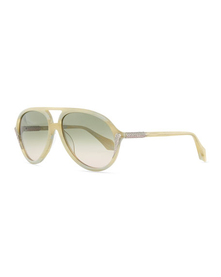 Mila ZB Aviator Sunglasses with Crystals, Ivory