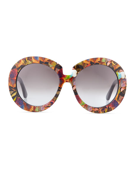 Butterfly-Print Round Sunglasses