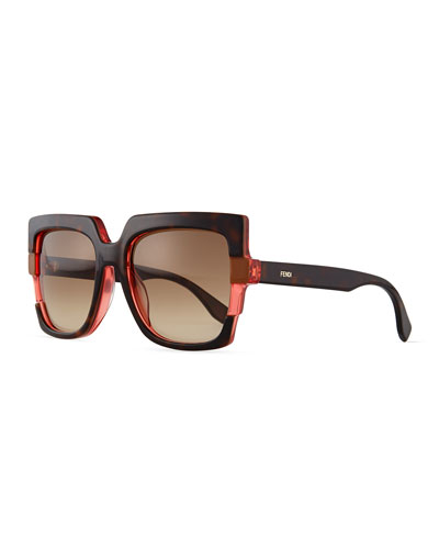 Large Square Colorblock Sunglasses, Havana Red