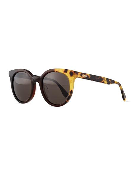 Fendi Limited-Edition Colorblock Sunglasses, Black/Olive