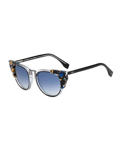 Galassia Marble Block Sunglasses, Blue/Orange