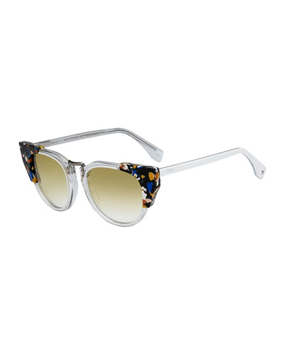 Galassia Marble Block Sunglasses, Blue/Brown/Clear