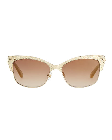 shira glitter cat-eye sunglasses, gold