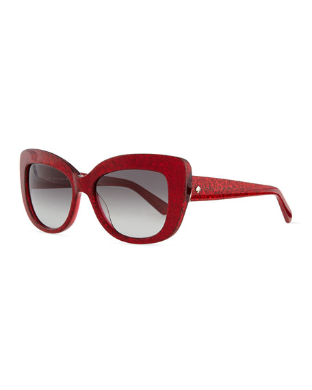 kate spade new york ursula glitter cat-eye sunglasses, red