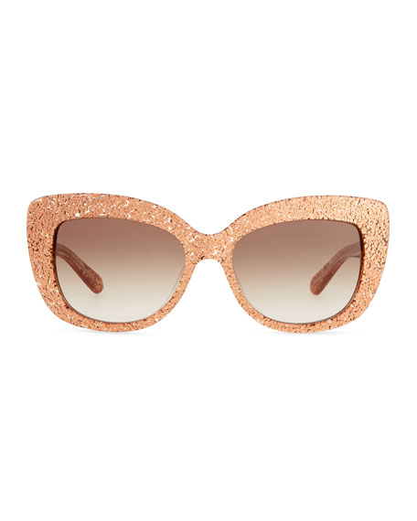 Rose gold glitter cat eye sunglasses