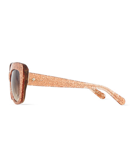 ursula glitter cat-eye sunglasses, rose gold