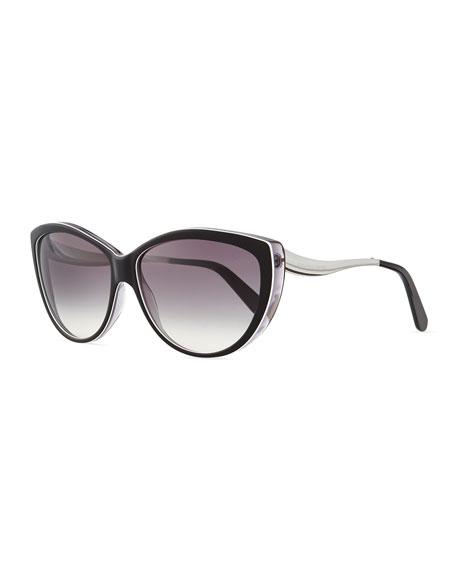 Cat Eye Sunglasses, Brown-White