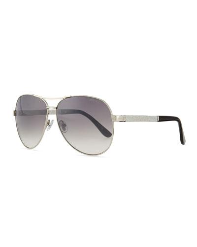 Lexi Aviator Sunglasses with Crystal Temples, Palladium