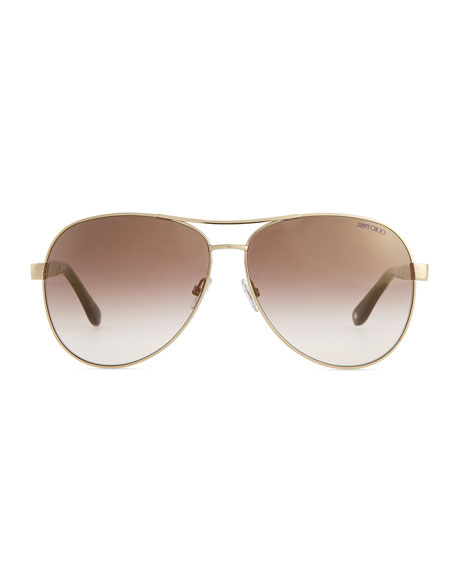 Lexi Aviator Sunglasses with Crystal Temples, Gold