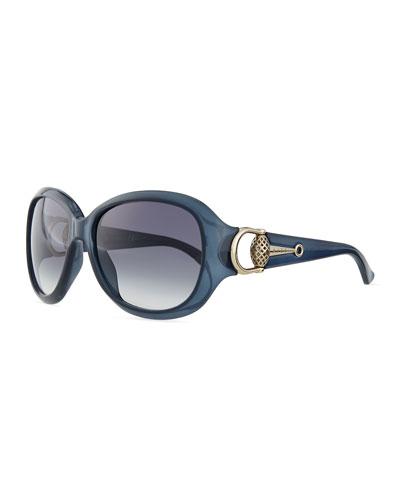Gucci Diamantissima Butterfly Sunglasses, Blue