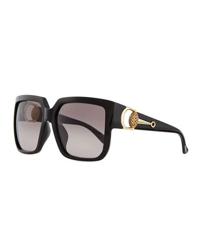 Gucci Diamantissima Square Sunglasses, Black