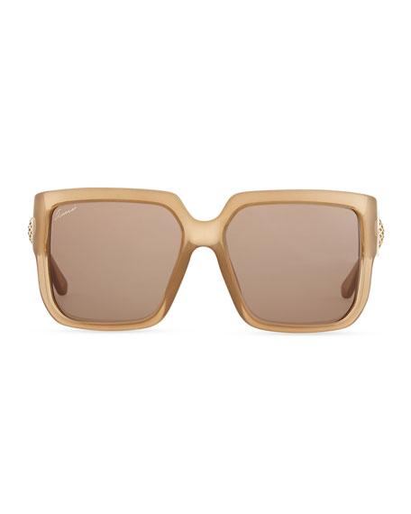 Gucci Diamantissima Square Sunglasses, Beige