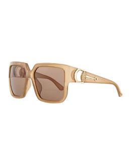 Diamantissima Square Sunglasses, Beige