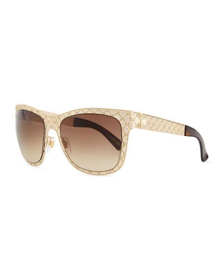 Gucci Mirrored GG Texture Sunglasses, Golden