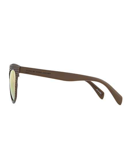 Laser-Cut Cat-Eye Sunglasses, Brown
