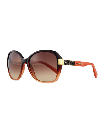 Alana Colorblock Round Butterfly Sunglasses, Rust