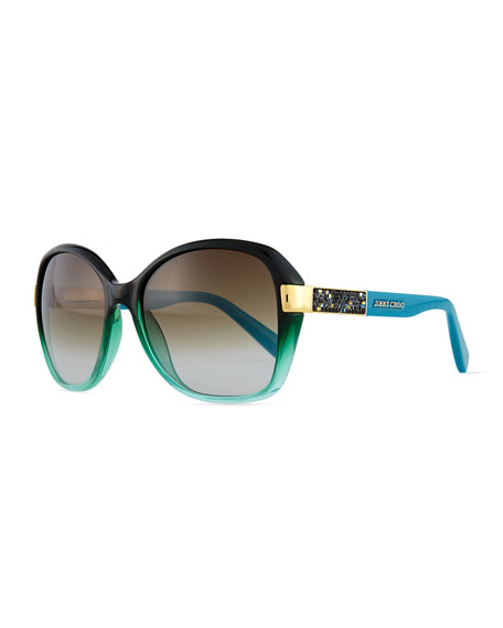 Jimmy Choo Alana Colorblock Round Butterfly Sunglasses, Petrol Green/Blue
