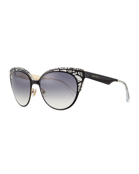 Jimmy Choo Estelle Lace-Pattern Cat-Eye Sunglasses, Black