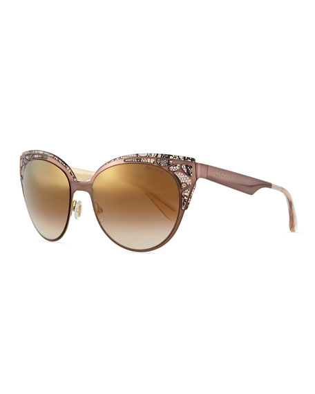 Jimmy Choo Estelle Lace-Pattern Cat-Eye Sunglasses, Brown