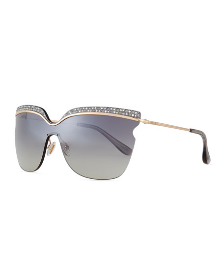 Jimmy Choo Jezebel Exaggerated-Brow Sunglasses, Rose/Gray