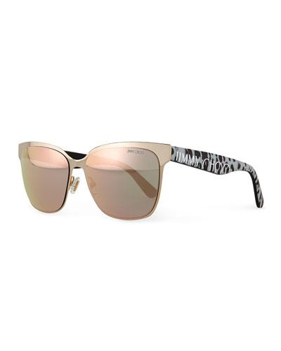 Mirror Logo-Temple Sunglasses, Brown