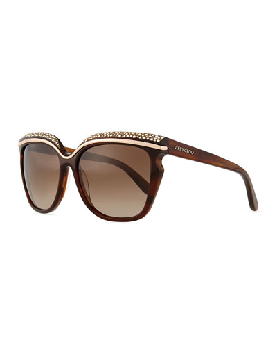 Sophia Embellished Sunglasses, Red/Brown