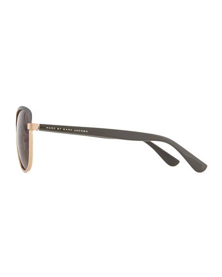 Colorblock Cat-Eye Sunglasses, Gray/Gold