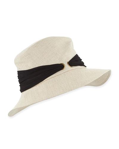 Jordana Linen Bucket Hat w/Silk Sash, Sand/Black