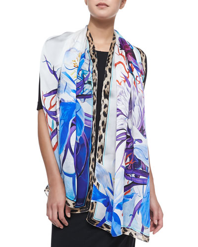 Printed Stole with Leopard Trim