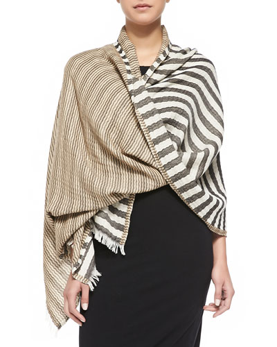 Tory Striped Wrap, Black/White