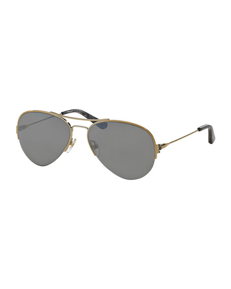 Tory Burch Metal Aviator Sunglasses, Light Gold/Gray