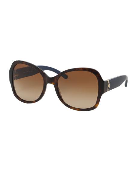 Tory Burch Plastic Butterfly Sunglasses, Havana/Navy
