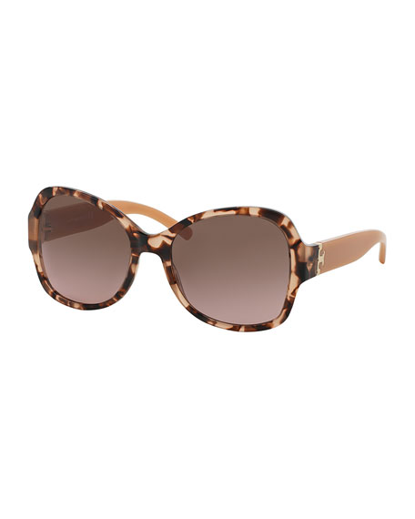 Tory Burch Marbled Butterfly Sunglasses, Havana/Blush