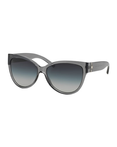 Transparent Plastic Cat-Eye Sunglasses, Milky Smoke
