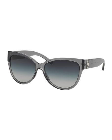 Tory Burch Transparent Plastic Cat-Eye Sunglasses, Milky Smoke