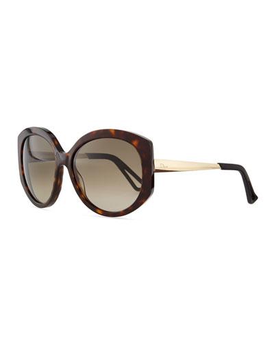 Plastic Round Sunglasses, Olive