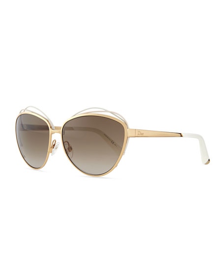 Dior Golden Metal Butterfly Sunglasses with Wire, White/Pink