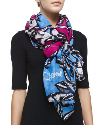 Hanovar Poppy Printed Scarf, Pink/Blue