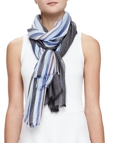 Solid/Graduated-Stripe Scarf, Blue