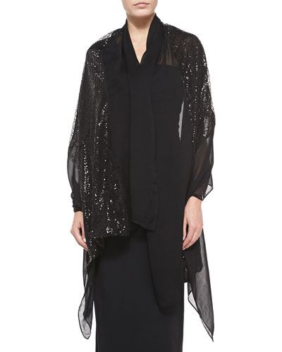 Paillette Embroidered Chiffon Wrap