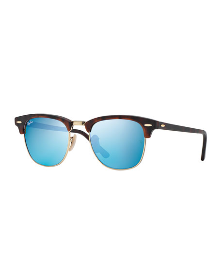 Sunglasses With Mirrored Lenses  ray ban clubmaster sunglasses with blue mirror lens havana