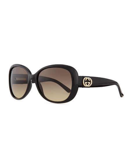 Gucci Crystal GG Logo Sunglasses, Black