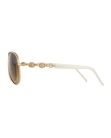 Stone Aviator Sunglasses, Ivory/Golden