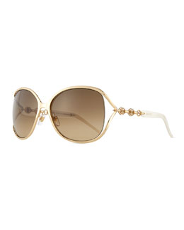 Large Butterfly Sunglasses with Logo Arm, Golden