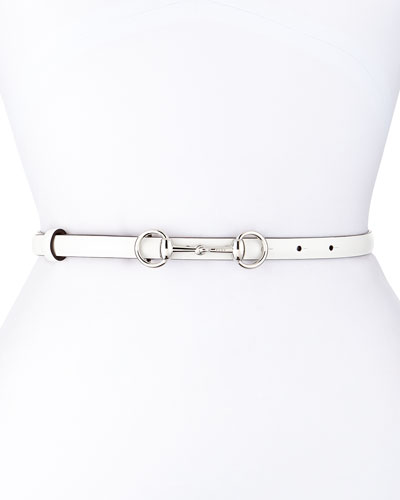 Calfskin Horsebit-Buckle Belt, White