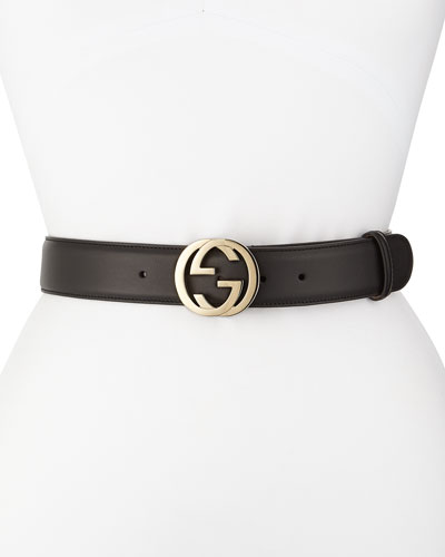 Wide Adjustable GG-Buckle Belt, Nero