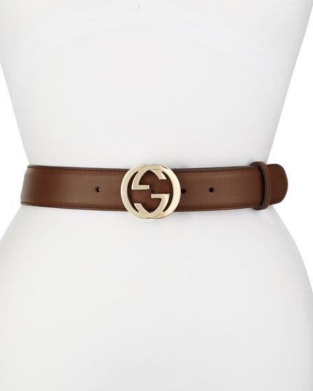 Gucci Wide Adjustable GG-Buckle Belt, Nut Brown