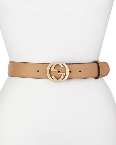 Wide Adjustable GG-Buckle Belt, Camelia